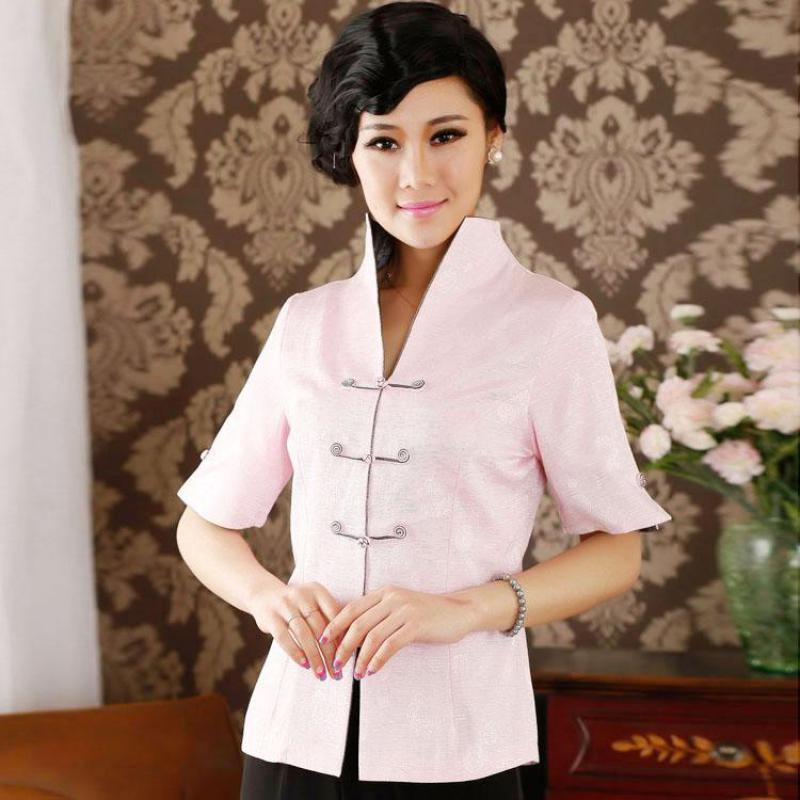 85a5227ef77 2019 Oversize 3XL PINK Women Short Sleeve Shirt Office Lady Improved Blouse  Mandarin Collar Vintage Tops Chinese Handmade Button Top From Shuangyin002