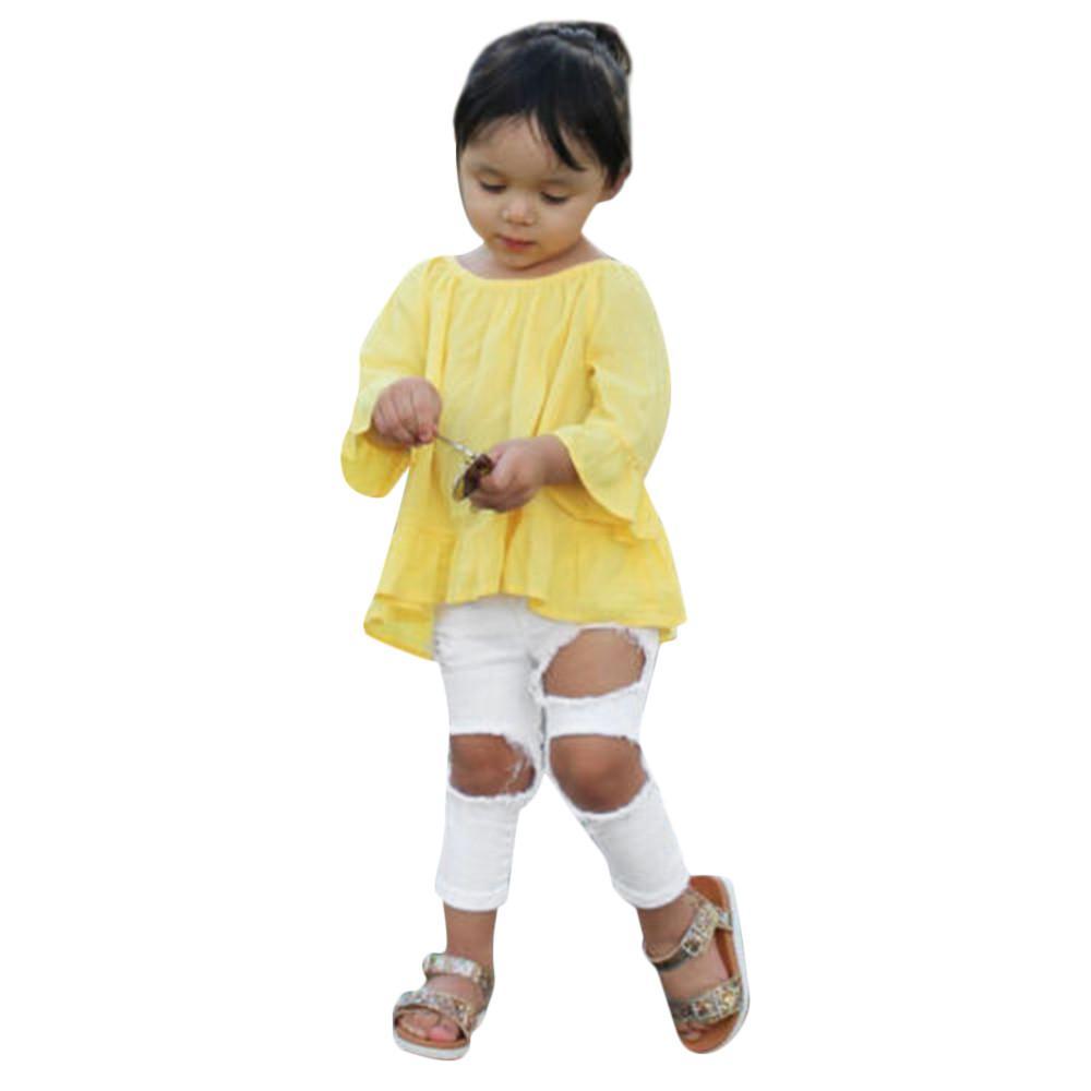 Compre Conjunto De Ropa Para Niños Pequeños Bebés Bebés Tops Irregulares  Sólidos Camisa De Manga Larga + Pantalones Vaqueros 2 Unids Niños Niños  Otoño Ropa ... 3ea75c9914df7
