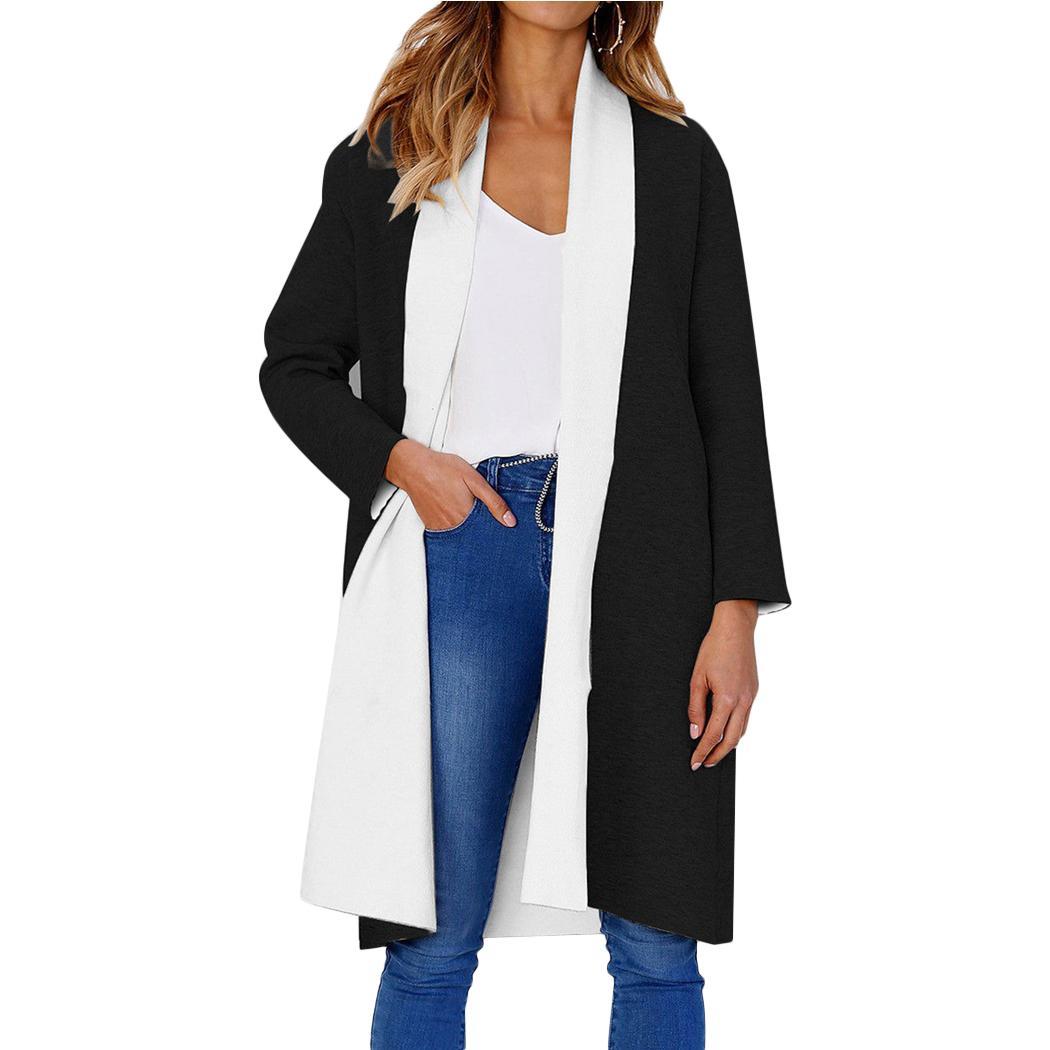 68dbbda7caf Autumn Women Double Layer Collar Blends 2018 Fashion Patchwork Woolen  Cardigan Jacket Warm Overcoat Long Sleeve Coats Winter