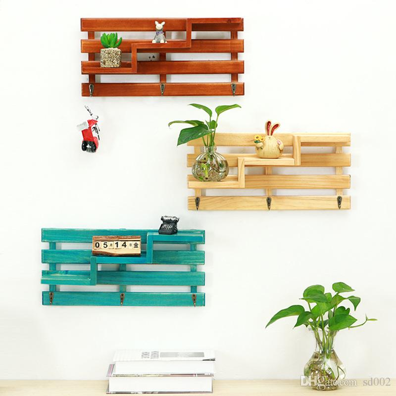 7ad4f9c5a8b35 2019 Multi Function Wall Hanging Hook Originality Storage Rack Organizer  Wood Shelf Holder Household Decoration Durable Multistorey 15 9my Jj From  Sd002