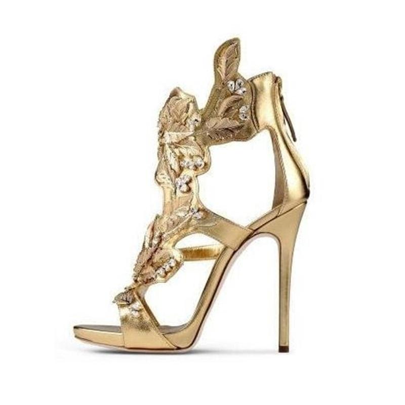 39178c09547489 Women Metallic Crystal Embellished Sandals High Heels Gold Winge Summer  Dress Shoes Cut Out Back Zipper Cage Shoes 2018 Womens Loafers Bamboo Shoes  From ...