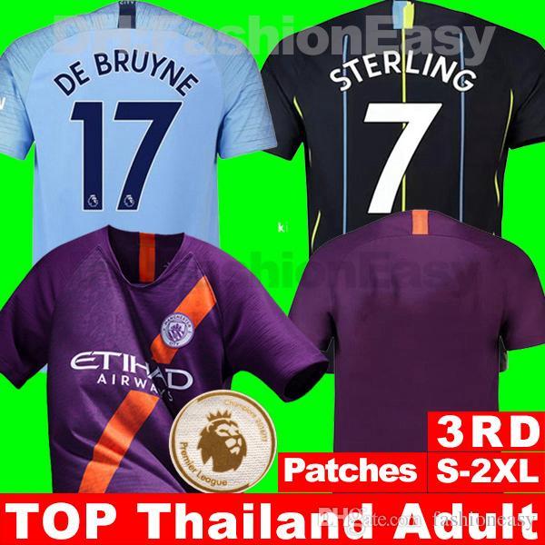 eb1a7e8177 Compre Manchester City Tailândia Cidade De Manchester 2018 2019 Camisa De  Futebol Terceiro Terceiro MAHREZ JESUS DE BRUYNE AGUERO SANE 18 19 Homens  Camisa ...