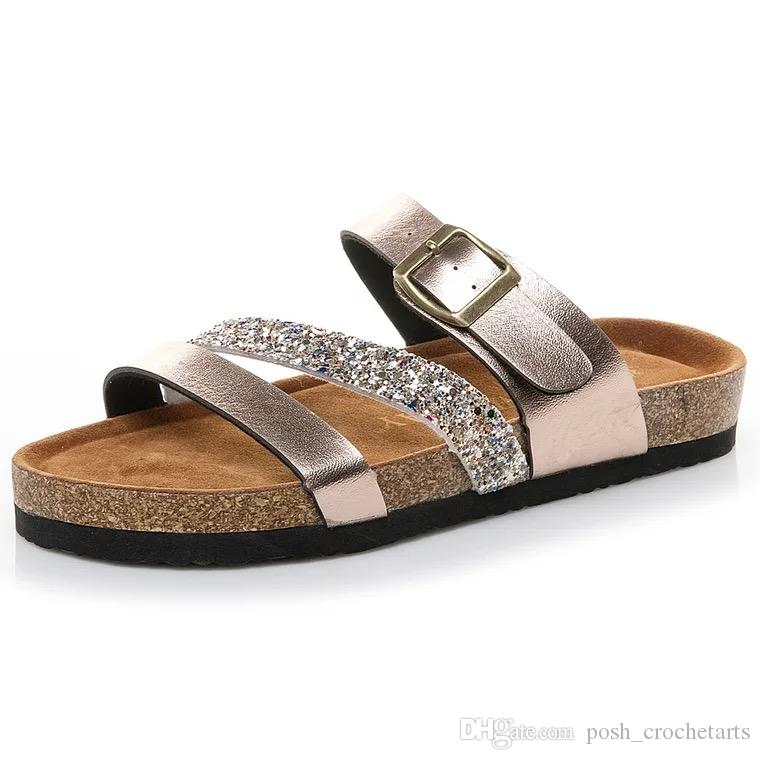 ab554c29907a Glitter Sandals For Summer Beach Time PU Leather Sandalias Berks Style  Teens And Adults Summer Flip Flops Plus Sizes Sandales 36 43 Boys Bootie  Slippers ...