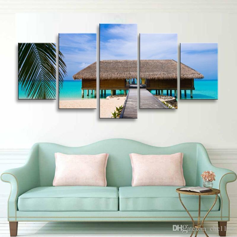 5 parça yüksek çözünürlüklü baskı ada Palmiye ağaçları tuval boyama posteri ve duvar sanatı oturma odası resim HaiD-010