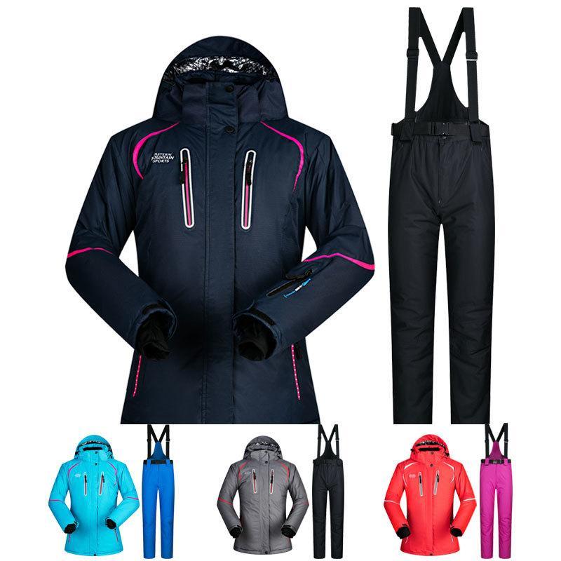 Winter Outdoor Skianzug Frauen Jacke Und Hosen Super Warm Hochwertige Winddichte Wasserdichte Thermische Ski Snowboard Anzüge