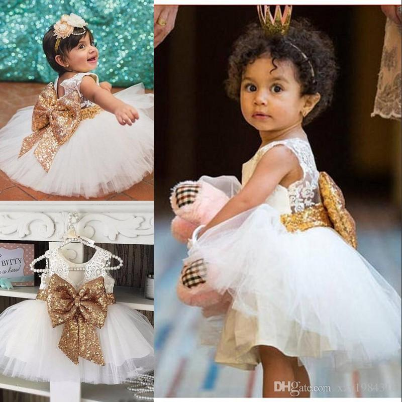 b0cc12c3c43 Adorable Fluffy Flower Girls Dresses Golden Sequined Bow Jewel Neck Lace  Applique Birthday Dress Lovely Knee Length First Communion Dress Expensive  Flower ...