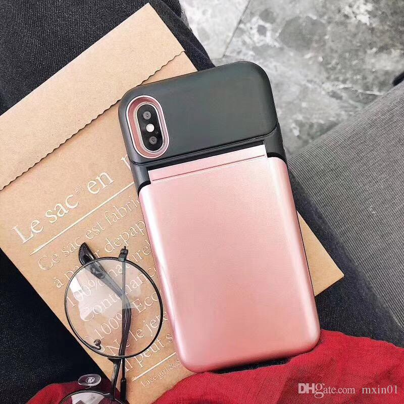 Hybrid Make UP Mirror Flip TPU PC Wallet Card Slot Stand Shockproof Case For iPhone X 8 7 6 6S Samsung S8 S9 A8 2018 Plus Note Note8