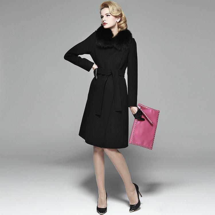 2016 Europea Clásica Cinturón 50% Abrigo de Mezcla de Lana de Invierno Mujeres Cálidas de Lujo Genuino Natural de piel de Zorro Collar de Abrigo de Alta Calidad