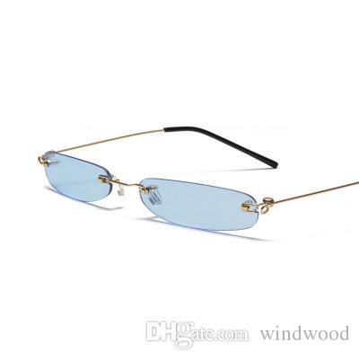06cec76782 Fashion Ultra Light Small Frame Sunglasses Personality Frameless Trend  Ocean Piece Retro Rectangular Narrow Frame Sunglasses Men And Women Kids  Sunglasses ...