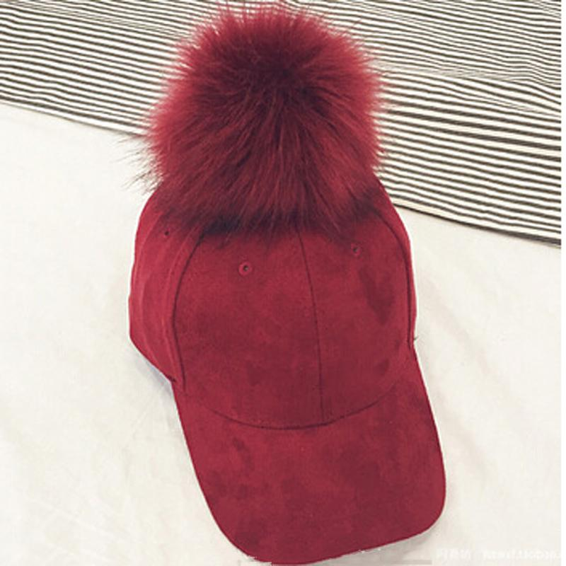 2018 Faux Suede Baseball Cap Women Adjustable Spring Autumn Hip Hop Hats Candy Color Casual Sun Hat With Big Pom Pom