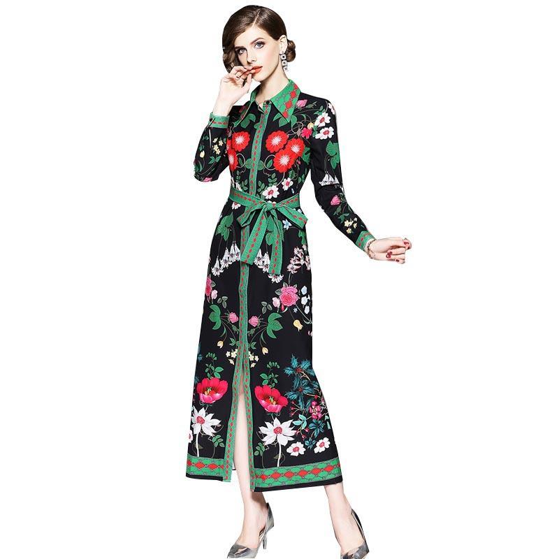 Women Autumn Print Long Dress 2018 NEW Fashion Female Full Sleeves ... b6159a7c1718