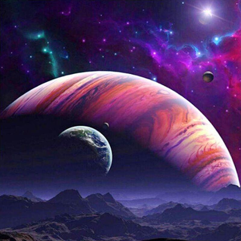 5d Diy Elmas Boyama Uzay Gezegen çapraz Dikiş Tam Matkap Yuvarlak Reçine Elmas Nakış Mozaik Resimleri Ev Dekor