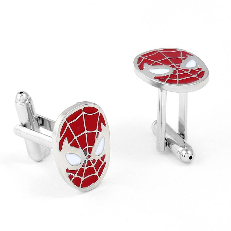 Wholesale The Amazing Spider-Man Men's Jewelry Superhero SPIDERMAN mask French Cuff Links Wedding Gift High Quality