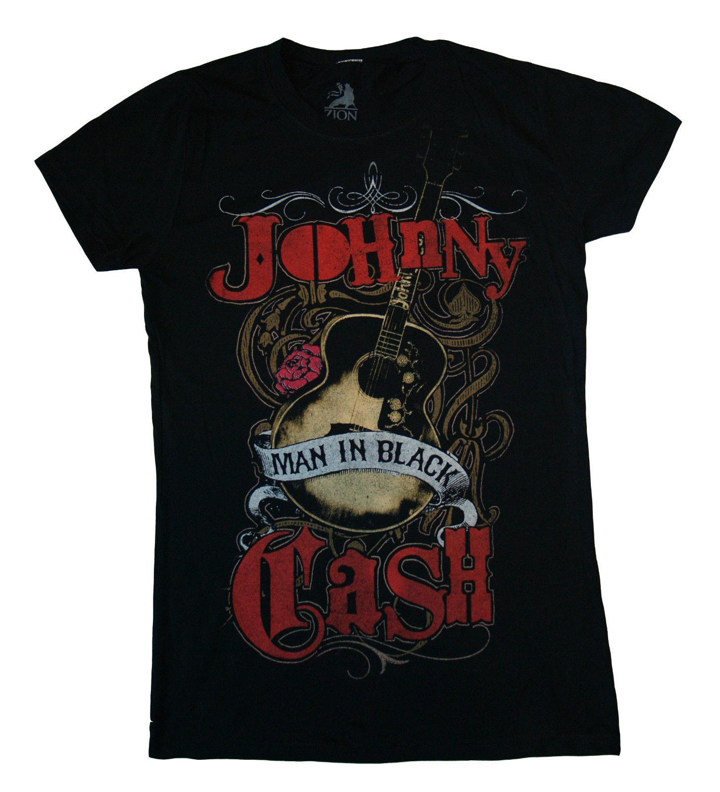 JOHNNY CASH - Guitar Man In Black Juniors T SHIRT top S-M-L-XL New Official Top