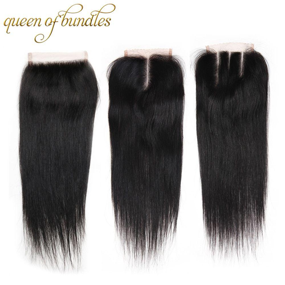 Бразильский прямо Девы волос с закрытием 4 связки с закрытием естественный цвет 8А класс 100% необработанные человеческих волос Weave