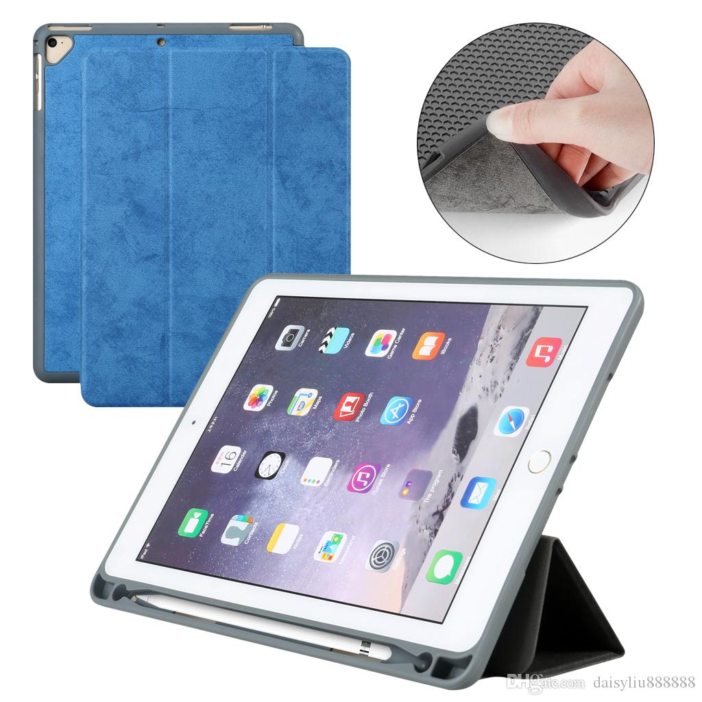 new styles b5c17 b0d56 Case with soft Pencil Holder For iPad Air 1 Air 2 Pro 9.7 Universal , PU  Leather Smart Stand Cover For ipad 5 6 Auto Sleep Wake