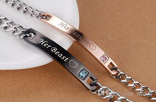 Europe Jewelry Titanium Her King His Queen Her Beast His Beauty Couple Bracelet & Bangle For Women Men Valentine's Day Birthday Gift