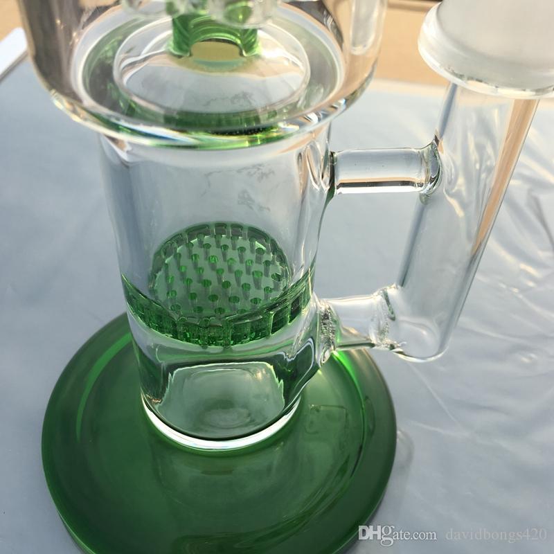 8 Arme Baum Perkolator gerade Rohr Dab Rigs Glasbongs Waterpipe 18.8mm Joint Oil Rig Glas Wasserpfeifen Honig Kamm Perc GB-144