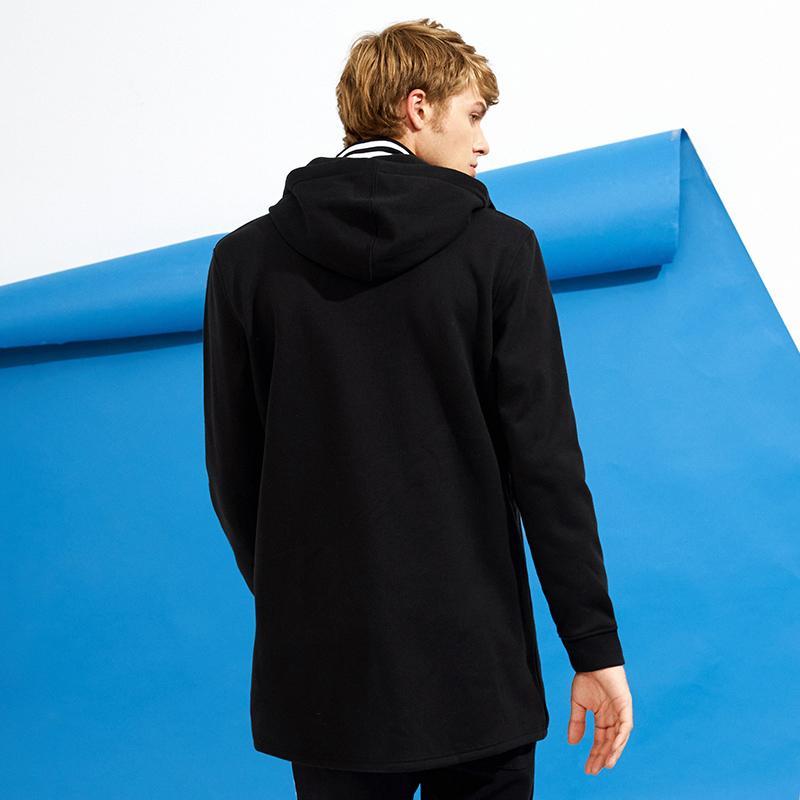 Pioneer Kampı bahar uzun polar ceket erkekler marka-giyim katı siyah kapüşonlu ceket erkek kalite% 100% pamuk giyim AJK702352