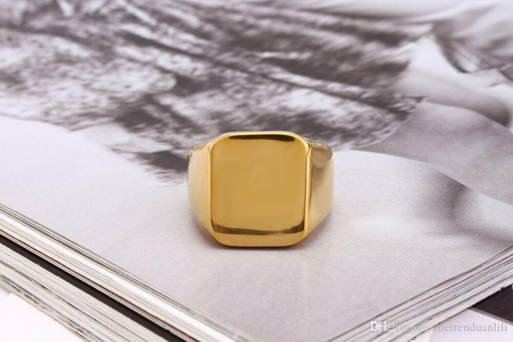 18mm Largo Semplice Anello quadrato Acciaio inossidabile Anelli a fascia Argento Nero Colore oro Maschio Anello Gioielli Anelli uomini Gioielli di design