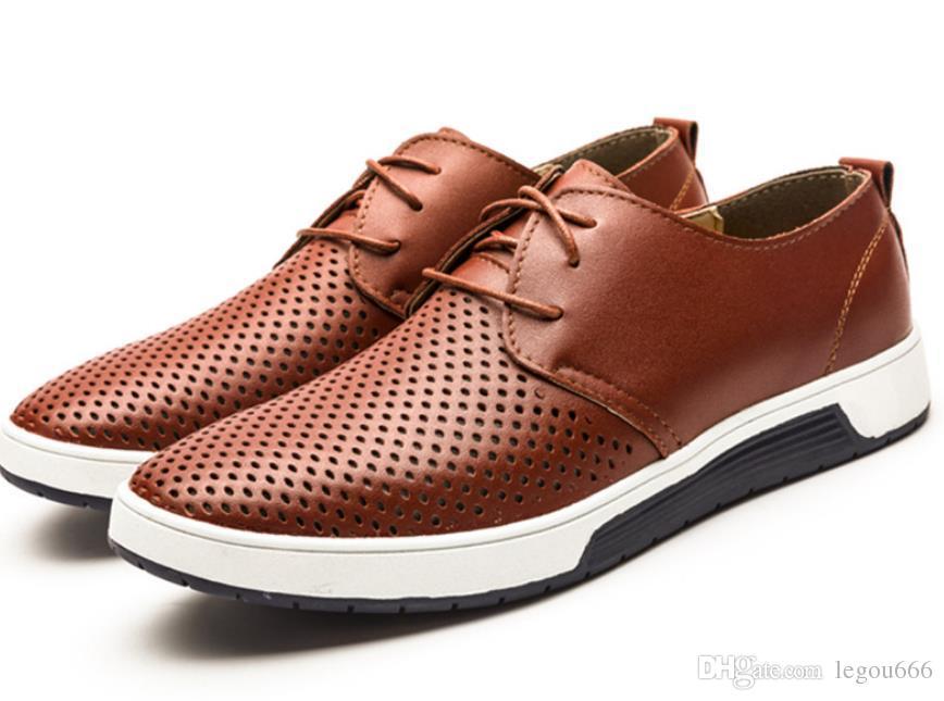 ca61834c77300 Compre Zapatos Casuales De Cuero De Los Hombres De Verano Agujeros  Respirables Marca De Lujo Zapatos Planos Para Hombres Envío De La Gota  GA354 A  25.61 Del ...