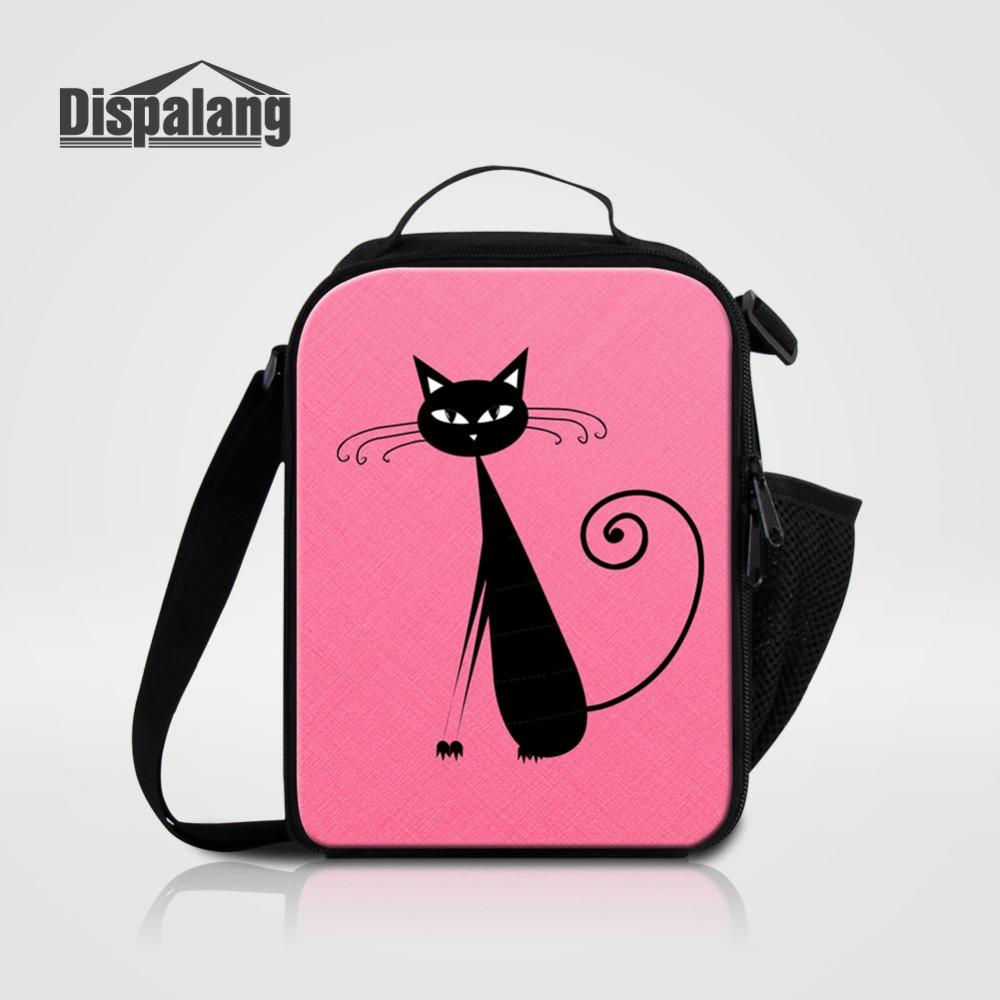 Pink Cat Pattern Lunch Cooler Bags For Girls Small Lunchbox For School  Women Portable Insulated Lunch Sack Bag Children Ice Pack Leather Purses  Big Bags ... d6fa62775188