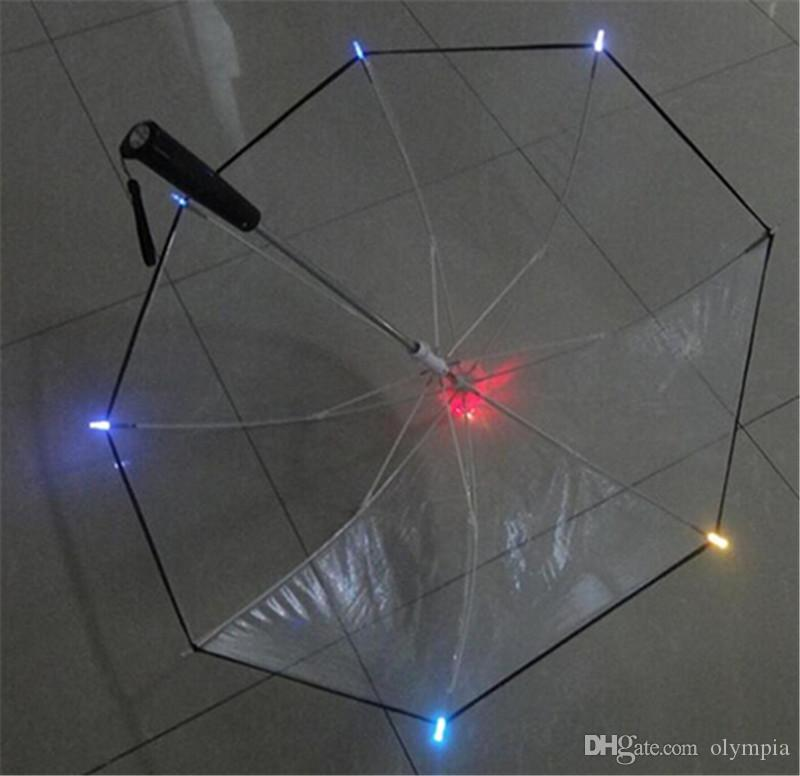 2018 Changing Color LED Luminous Transparent Umbrella Rain Kids Women with Flashlight For Friends Best Gift