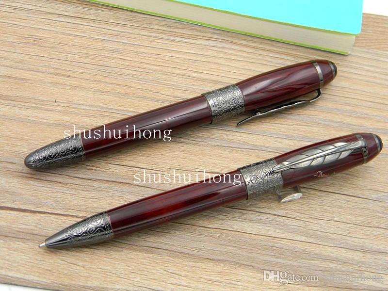 Fournitures de bureau en métal cadeau de luxe haut de gamme rouge foncé Gun noir tailler classique motif Writer série Defoe Rollerball Pen