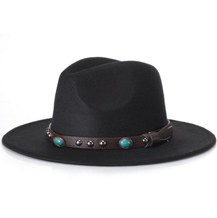 539703e0897 Trendy Men Women Casual Woolen Cowboy Hats Fedora Caps Korean Style Unisex Wide  Brim Panama Hat Summer Beach Sun Cap Sunhat Hat Sun Hat Online with ...