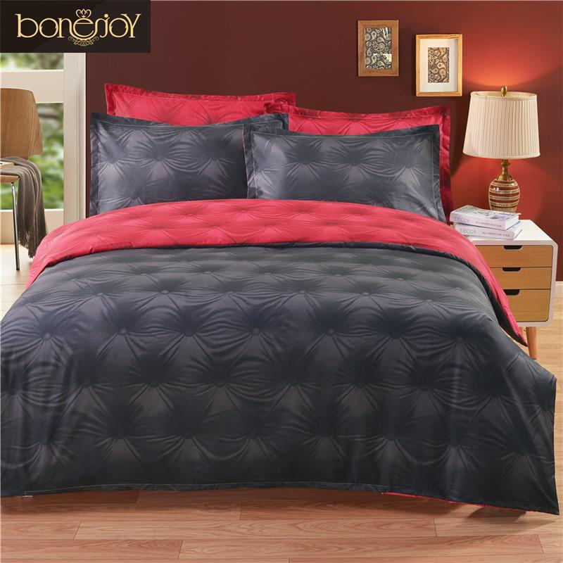 Solid Color Black And Red 3d Duvet Cover Set Queen Size Bottom