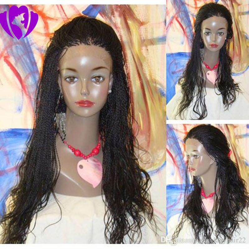 Ручной работы 30inches длинные сенегальские 2x твист кружева парик синтетические полностью ручной плетеный кружева передний парик средний твист для афро женщин