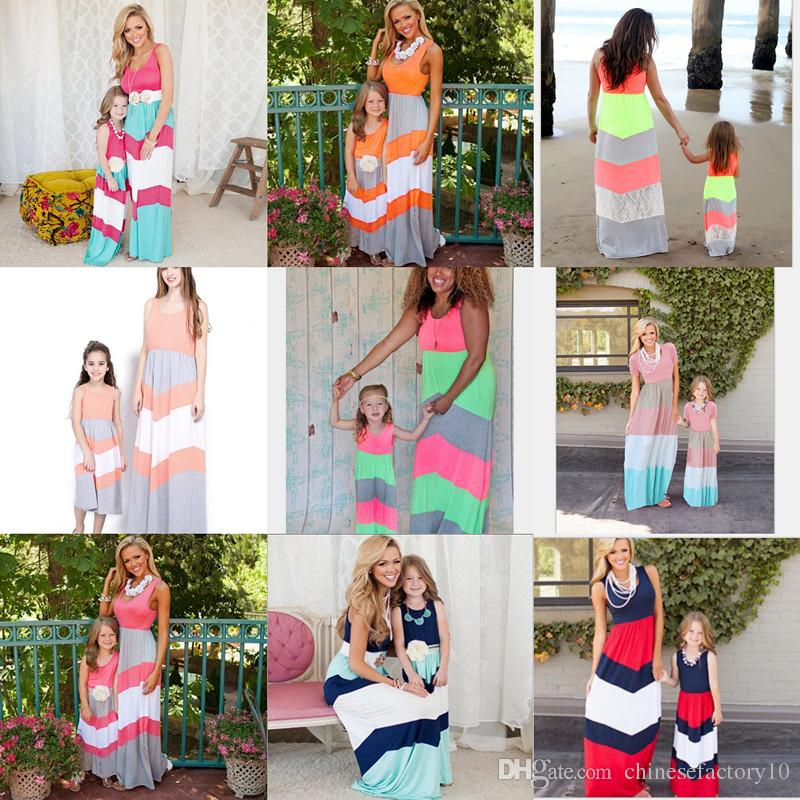 Mommy Daughter Matching Dress Mother and Daughter Stripe Maxi Dresses Summer Mom and Baby Sleeveless Long Dress 14 Colors