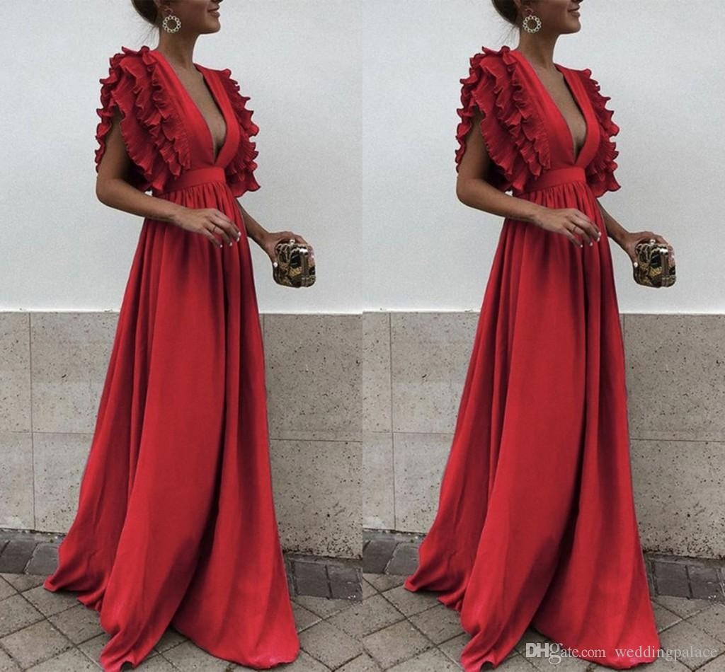 New Arrival Elegant Red Evening Dresses With Sleeveless Sexy Deep V Neck Satin Dresses Evening Dresses Sweep Train