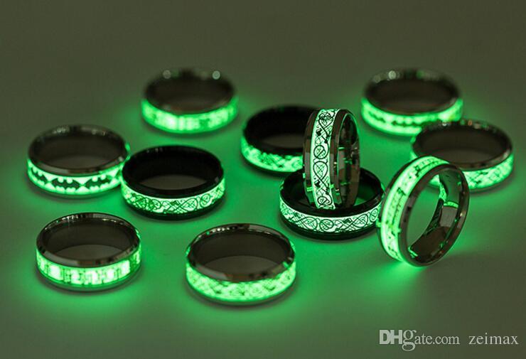 Mens Anel Luminoso Batman Anéis para Homens Preto de Prata de Ouro de Aço Inoxidável Mulheres Anéis Brilham No Escuro Masculino Anel de Jóias