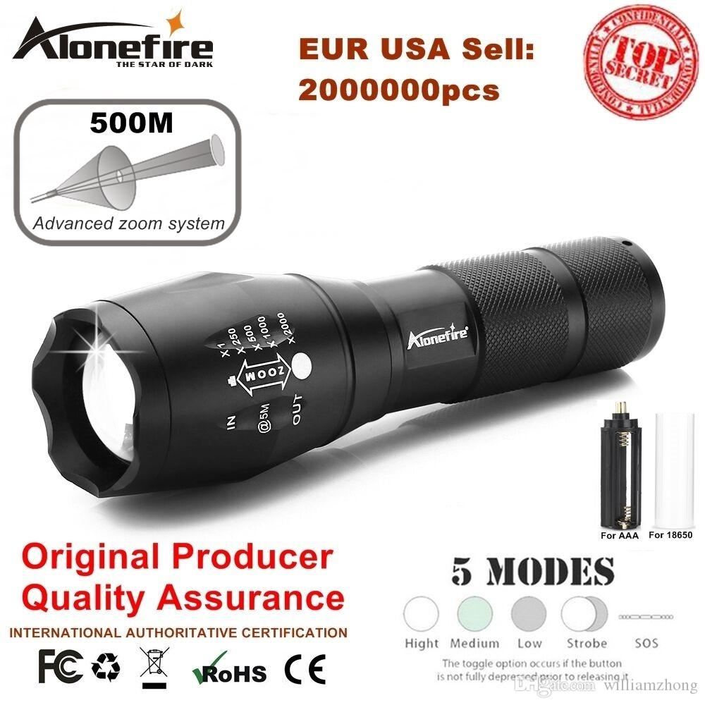 AloneFire G700 E17 XM-L T6 5000LM Aluminum Waterproof Zoom CREE LED Flashlight lantern Torch Camping light AAA or 18650 Rechargeable Battery