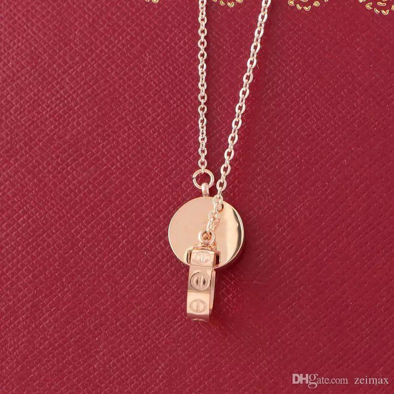 9782afe44104 LOVE Circle Colgante Collar de Color Rosa para Mujeres Bisutería Vintage  Collar con caja original