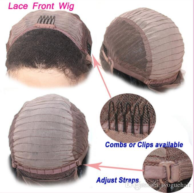 iVogue Virgin Indian Gluless Ombre Human Hair Lace Wigs Burgundy Full Lace Wigs Loose Wave Ombre Lace Front Wig for Black Women