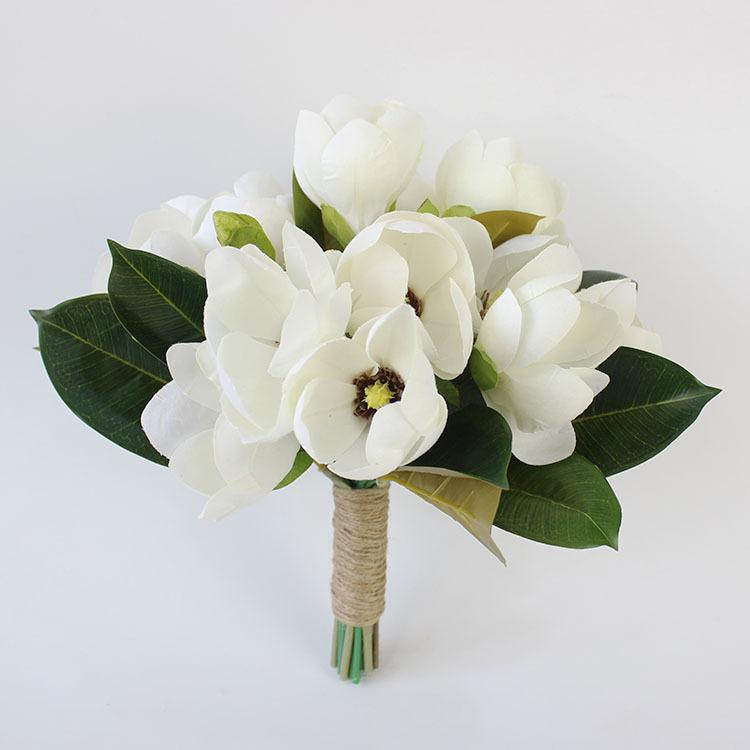 Wedding Centrepiece Flowers Artificial Magnolia Bouquet Bridal ...
