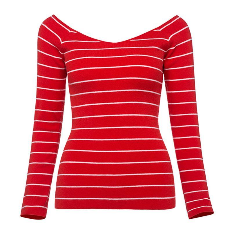 Sisjuly femmes chandails automne rayé slash cou pull manches longues chandail mince mode décontractée 2018 femmes chandails tricotés