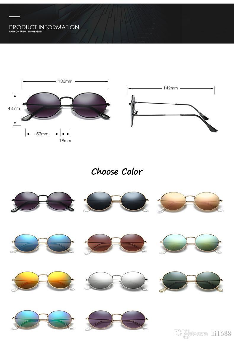 Классические Овальные Солнцезащитные Очки Мужчины Женщины Марка дизайнер Сплав Frame Старинные Очки Вождения Унисекс Солнцезащитные Очки с бесплатными чехлами и коробкой