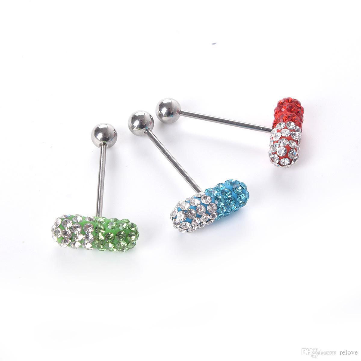 Bijoux piercing de pilule d'anneau de langue de capsule avec la strass