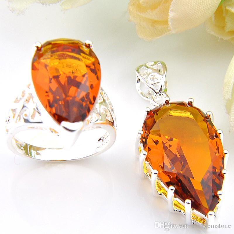 a1cf4fa705c0 Mezclar 2 Piezas 1 Unidades Classic Holiday Jewelry Brasil citrino Crystal  925 plata esterlina colgantes plateados cuelgan los anillos del día de ...
