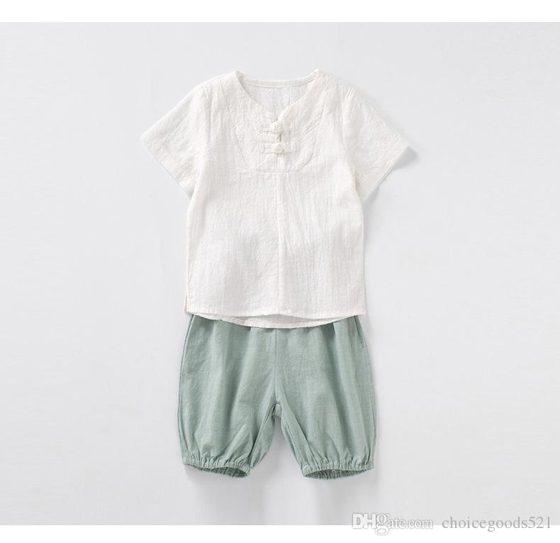 Acquista Vestiti Estivi Ragazzi Camicia Bambini Stile Cinese + Pantaloncini  2 Pezzi Moda Abbigliamento Bambino Abbigliamento Bimbi 6 S   L A  51.86 Dal  ... 70750cf586d