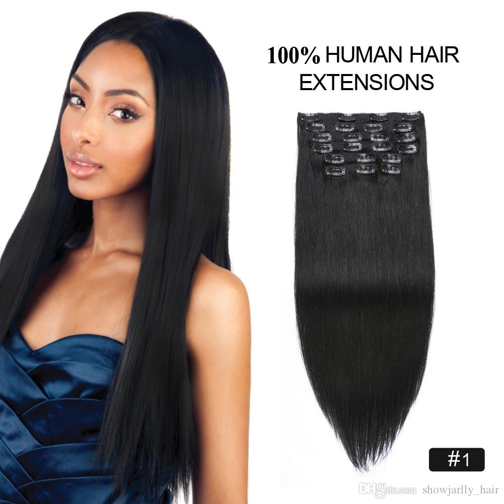 Set Indian Real Hair Clip In Human Hair Extensions Black 20inch 180g