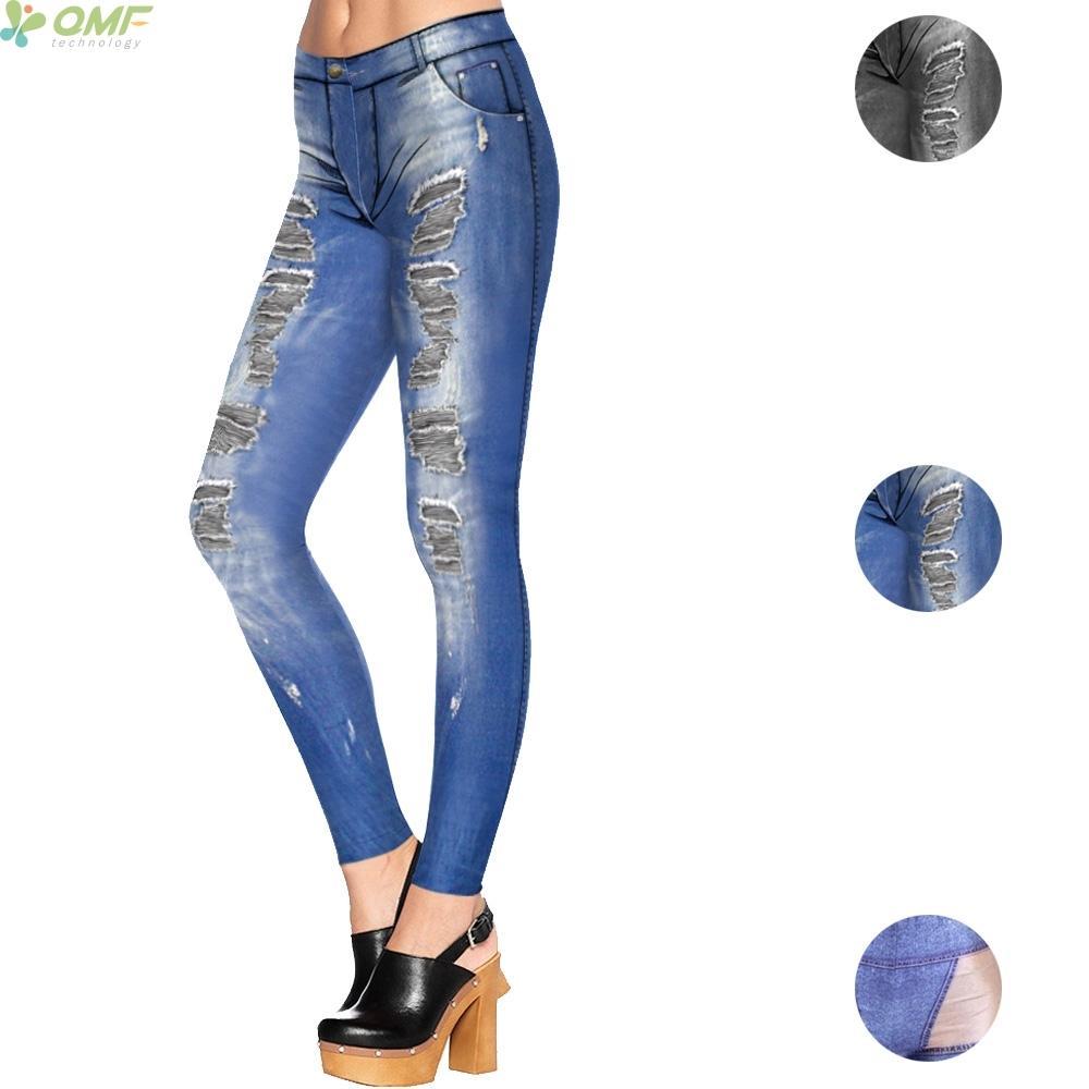 Acheter 2019 Cosplay Jeans Trou Bleu Imprimés Leggings Pantalons Tout Style  Punk Femme Décontracté Pantalon Crayon Pantalon Slim Fit Legging Skinny De  ... cdb89b8e1c4