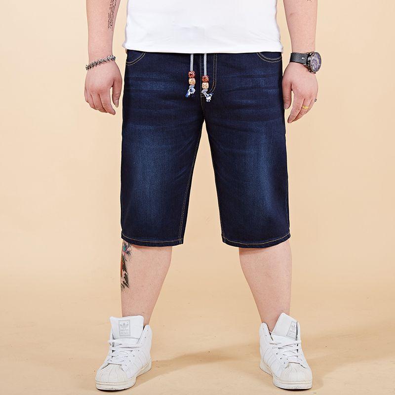 Compre 2018 Shorts Jeans De Verão Calça Jeans Masculina Homens Jean Shorts  Mens Board Plus Size 28 46 48 Calças De Algodão Casuais Em Linha Reta De ... 0c1321900557a