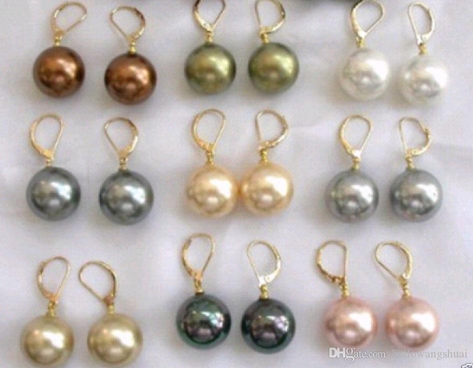 Großhandels/ 9 Paare 10mm Südseeshell-Perlen-Ohrring