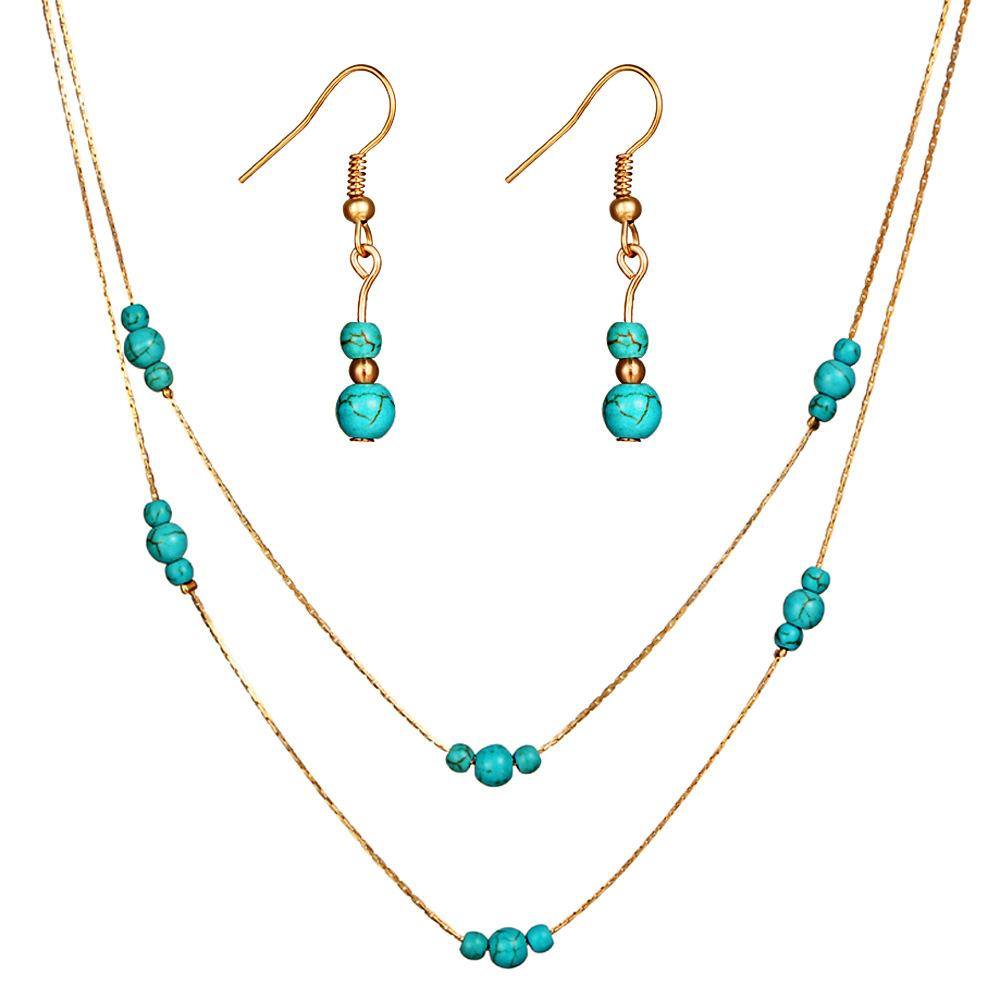 Bohemia Sttyle Turquoises Earrings Necklace set for Women kit Fashion Elegant Nature Stone Jewelry Sets gift wholesales