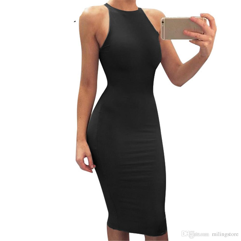 Women Sexy Bodycon High Waist Sleeveless Summer Club Midi Dress Club Wear  Stretchy Elegant Tight Party Dress Online with  19.43 Piece on  Milingstore s Store ... c201a7f40be7