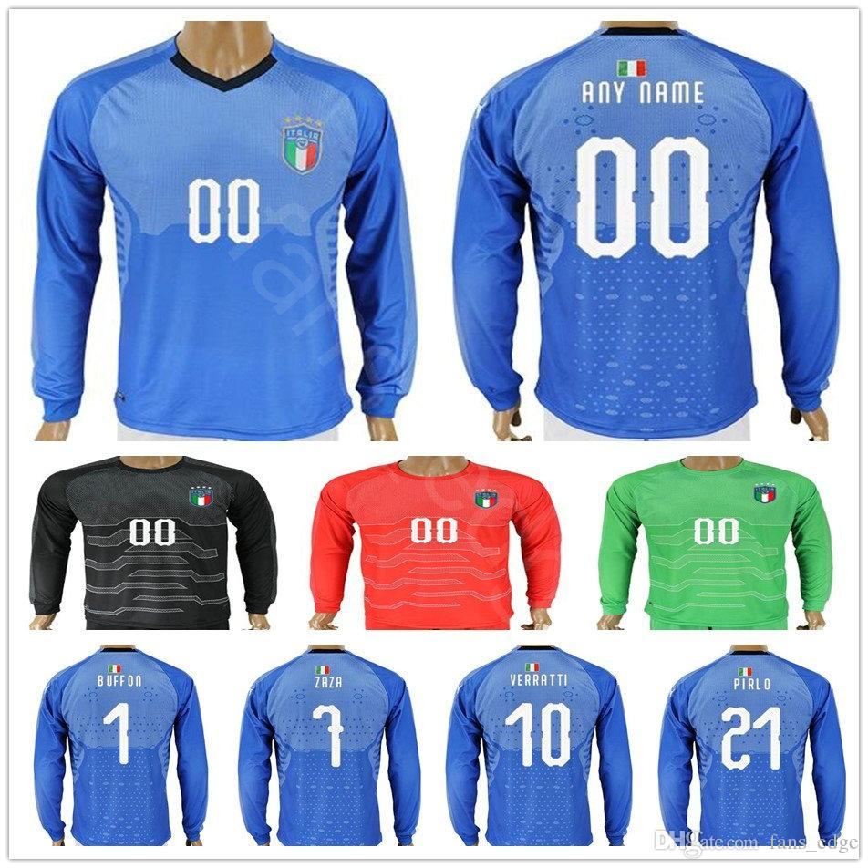 4d1adbddef414 2018 Italy Long Sleeve Jersey BUFFON INSIGNE ZAZA EL SHAARAWY PIRLO IMMOBILE  BONUCCI MARCHISIO VERRATTI Home Customize Soccer Football Shirt UK 2019  From ...